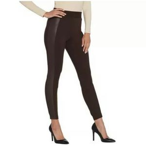H By Halston Side Panel Leather Leggings Size 4